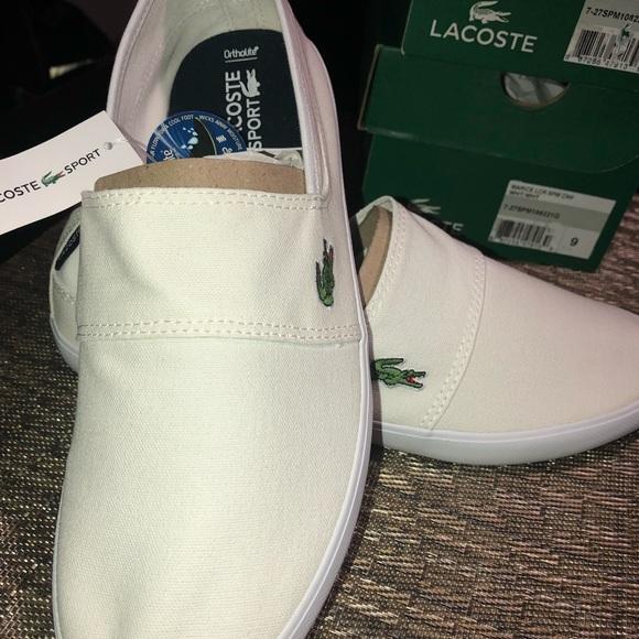 7825b576f2b996 Lacoste MEN S MARICE CANVAS SLIP-ONS white